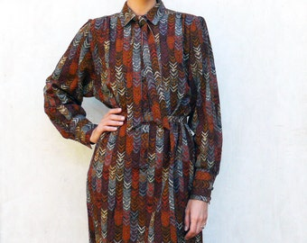 """Funky retro patterned dress, medium - arrows and earthy tones . . . . . """"Like"""" our fb page for 10% discount"""