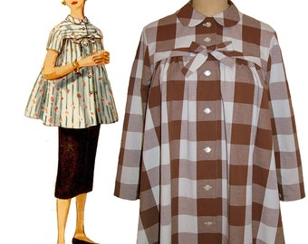 1950s Style Button Up MATERNITY Blouse Custom Made in Your Size From a Vintage Pattern