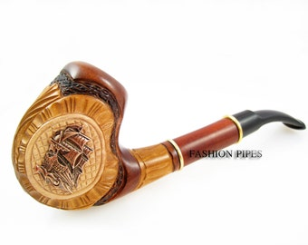 "Sale Exclusive Pipe ""SHIP"", Tobacco Pipe - Smoking Pipe Engraved. The Best Gift Hand Carved, Limited Edition"