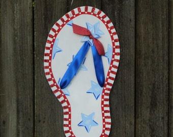 Flip Flop Door Hanger, Summer Door Hanger, Patriotic Door Hanger, Red White Blue, Americana