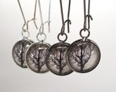 Dawn Tree Earrings in Gunmetal Black or Silver - Dangle Earrings