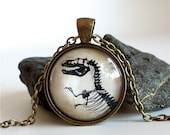 Dinosaur Necklace - T Rex Necklace - Tyrannosaur Fossil Pendant in Brass