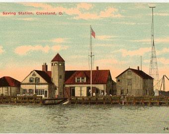 Vintage Postcard, Life Saving Station in Cleveland, Ohio, ca 1910