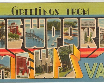 Linen Postcard, Greetings from Newport News, Virginia, Large Letter, 1943