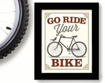 Bicycle Gift, Vintage Bicycle Art, Cycling Art, Bicycle Enthusiast, Bicyclist, Bike Rider, Cyclist, Outdoorsman, Rides Bikes
