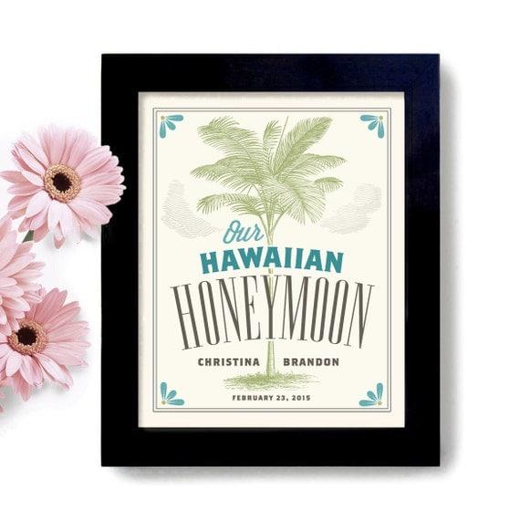 Hawaii Wedding Gift Hawaiian Honeymoon Personalized Art Beach Decor ...