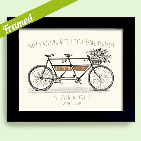Wedding Gift for Couple Unique Honeymoon Gift Bicycle Art Adventurous ...