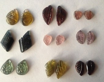Rare Tourmaline carvings  size 8x10 mm to 21x11 mm tourmaline carvings weight 84 carats Pcs 18