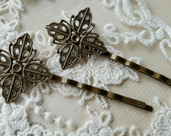25 mm Handmade Antiqued Bronze Setting Bobby Pins (.ag).