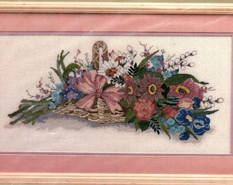 """The """"FRENCH FLORAL BASKET"""" Counted Cross Stitch Kit by Candamar Designs Sealed  Kit"""