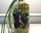 altered bottle, art, altered art, decor, gift, magic, magick, witch, wicca, assemblage, winter