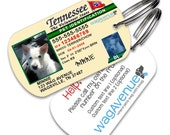 Tennessee Driver's License Dog Tag - Personalized Pet Tag, Custom Pet Tag, Dog License ID,  Dog Tags for Dogs, Dog License Tags, Dog ID Tags