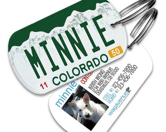 Dog Tag - Colorado License Plate Dog Tag - Personalized Pet Tag, Custom Dog Tag, Dog ID Tag, Dog Name Tag, Dog Tags for Dog, Dog License Tag