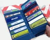 Women's Wallet Bifold 38 Credit Card Holder, Loyalty Card Organizer Coral Chevron Card Wallet, Womens Wallet