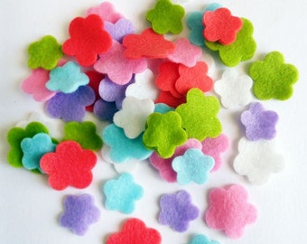 Felt flower Shapes, set of 60 pieces, Die Cut Shapes, Applique, Confetti, Party Supply, DIY Wedding