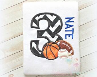 Boys Sports Balls Birthday Shirt- Baseball, Football, and Basketball. Black Chevron