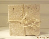 Natural Stone Tumbled Travertine Coasters Shabby Cottage Coasters Cork Backing Shabby Cottage Wedding Gift