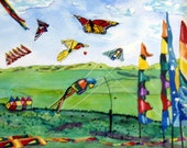 Callaway Kite Flight, Colorful Framed Watercolor on Clayboard under Glass