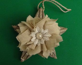 Rustic Christmas Ornament, Shabby Chic, Cottage Chic