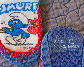 80s Smurf booties slippers for children - Vintage baby footwear - XS 3 - 4 childs shoe