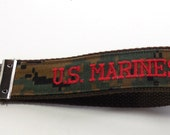 Key Fob, US Marines,Military Key Fob, US Marines Woodland Camo, Ready to Ship Key Fob, Red Embroidery on Brown Webbing