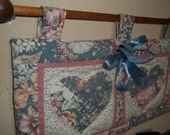 Heart Quilt, Hearts Wall Quilt, Cottage Rose and Blue Heart Wall Quilt PLUS Wooden Dowel, 2 piece Dowel and Quilt, Heart Quilt, Floral Quilt