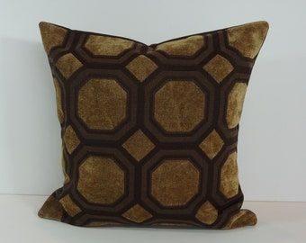 Geometric Brown Decorative Pillow Cover, Throw Pillow Cushion, 16 x 16