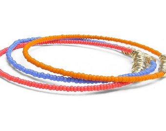Beaded Bracelet Stack // Set of 3 Bangle Bracelets // Coral, Purple, Orange Seed Bead Bracelets // Eco-Friendly Jewelry // Summer Gift Music