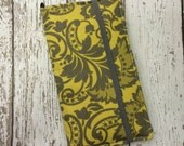 Samsung Galaxy Note, Note 2, Note 3, Note 4, iPhone 6 Plus wallet with removable gel case - yellow and gray damask