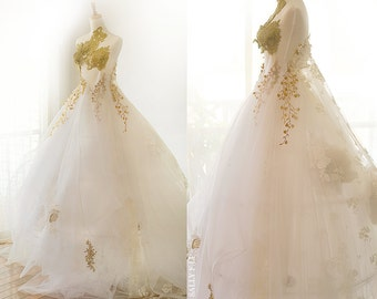 Melody Handmade Chiffon Flowers Romantic Gold embroidery Wedding Dress