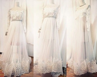 1331 Handmade Romantic Lace Wedding Dress / Sally F.Li