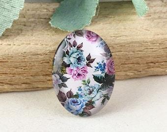 4pcs 18x25mm Oval Handmade Photo Glass Cabochon - Flower