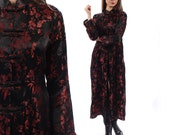Vintage Silk Kimono Chinese Morning Robe 90s BLACK RED Silk Japanese Maxi Asian Oriental Floral Festival Jacket Hippie Wrap Small to Medium