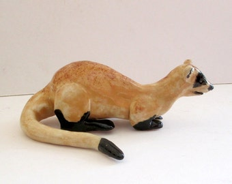 Ferret Clay Whistle - Pottery Ferret Whistle - Pottery Whistle - Clay Animal Whistle - Ferret Sculpture - Ferret Figurine
