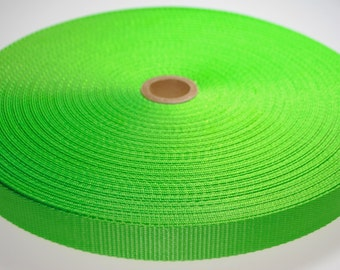 """1"""" Neon Green Nylon Heavy Weight Webbing - Two or Five Yards - More Available"""