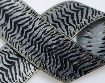 Zebra Jacquard Trim 1&1/4 inches wide - Two, Five, or Ten Yards