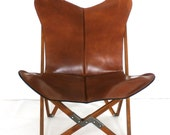 "Original BKF ""Tripolina"" Butterfly Chair - Premium Leather and Wood Folding Frame Chairs"