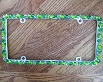 Bling License Plate Frame Green/Lime Green Crystal Beaded #A214176339