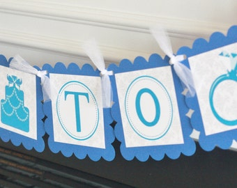 """Damask White & Blue Scroll Bridal Shower """"Bride to Be"""" Bachelorette Wedding Cake Ring Party Banner - Ask about our Party Pack Special"""