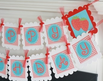 Happy Birthday Red Gingham & Turquoise Strawberry Picnic Berry 1st Birthday Summer Theme Banner - Party Pack Specials - Free Ship Over 65.00