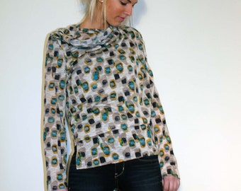 Wrap Top with Loose Front Opening - Made From Lightweight Semi-sheer Jersey Fabric