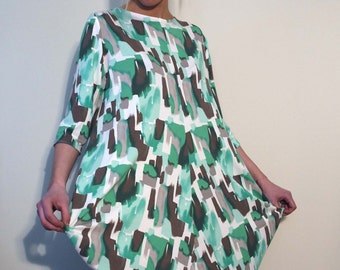 Jersey Dress with Center Front and Center Back Seam and Exaggerated Fulness with 3/4 Sleeves