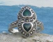 Sterling silver black opal marcasite ladies / womens ring