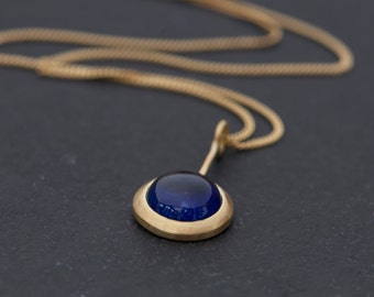 Blue Sapphire Gold Necklace - 18K Gold Sapphire Necklace - Blue Sapphire Pendant Necklace in 18k Gold - Cabochon Sapphire - Free Shipping