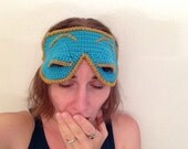 Crochet Replica of Audrey Hepburn's Blue Sleep Eye Mask from Breakfast at Tiffany's Holly Golightly Turquoise Metallic Gold MADE TO ORDER