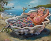 "Margarita Mermaid ""Sasha"" mermaid high quality print on watercolor paper. Great bathroom art 8""x10"""