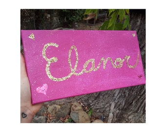"Custom Name Painting with Glitter, 6""x12"""