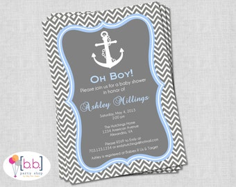 Nautical Boy Baby Shower Invitation (Gray & Blue Chevron)- Printable