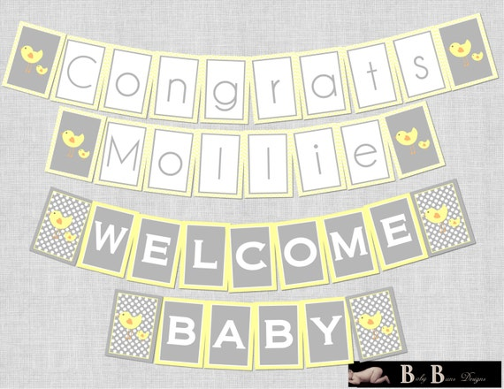 Chick Baby Shower- Gender Neutral, Banner- Printable or Shipped