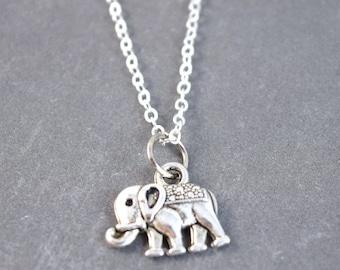 Tiny Elephant Necklace - Silver Elephant Necklace - Elephant Pendant - Zoo Jewelry - Animal Necklace - Elephant Jewelry - Sterling Silver